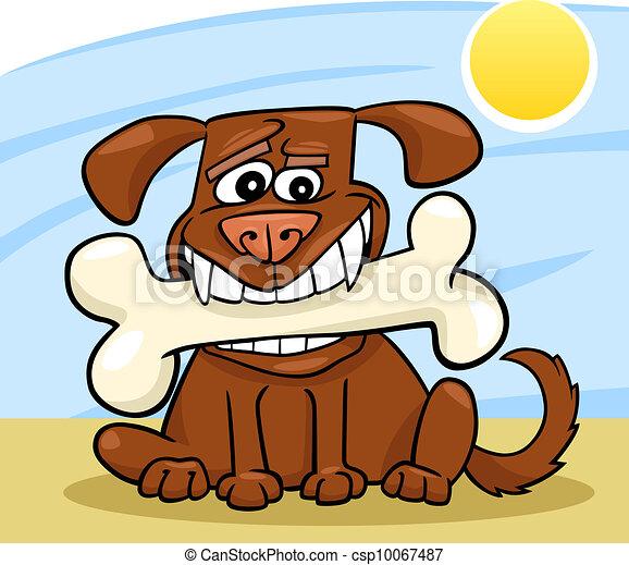 Cartoon Dog with big bone - csp10067487