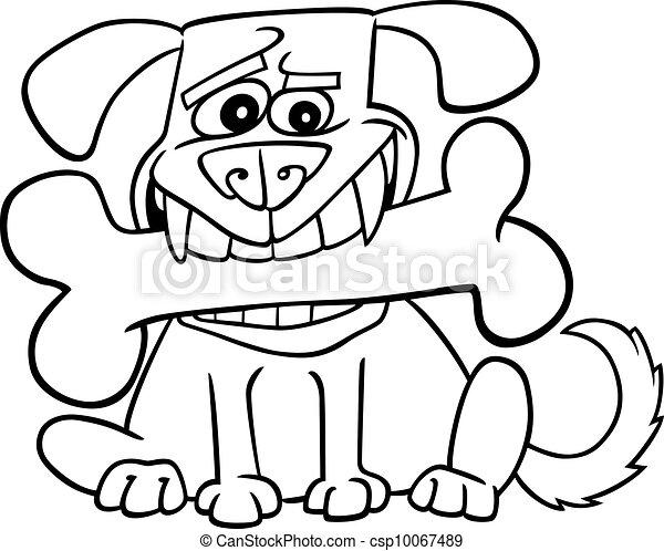 Cartoon Dog With Big Bone For Coloring Cartoon Illustration Of Dog With Big Bone For Coloring Book