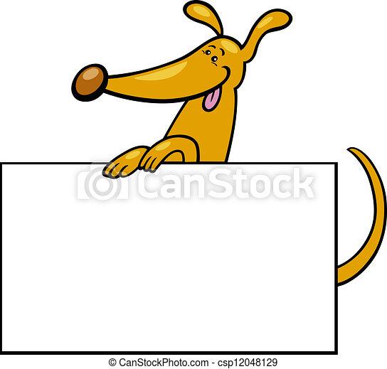 cartoon dog with board or card - csp12048129