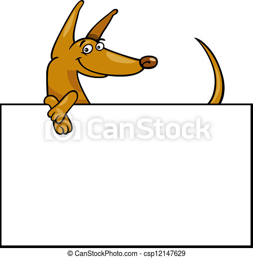 cartoon dog with board or card - csp12147629