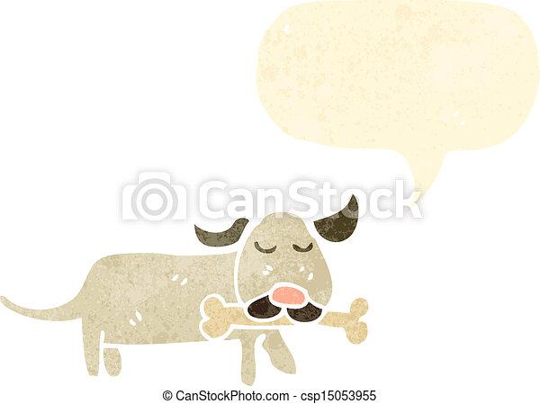 cartoon dog with bone - csp15053955