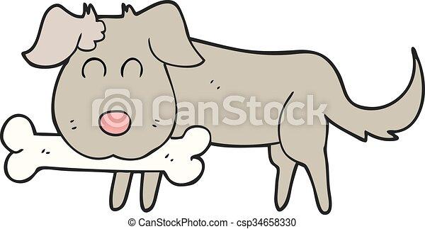 cartoon dog with bone - csp34658330