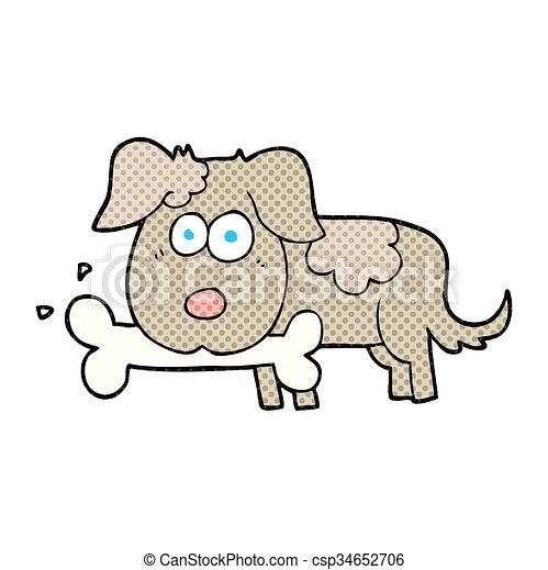 cartoon dog with bone - csp34652706