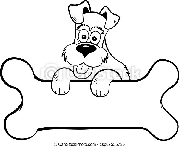 Cartoon dog with paws on a banner shaped like a bone. - csp67555736