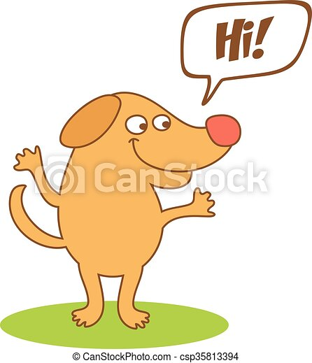 cartoon dog with thought bubble  - csp35813394
