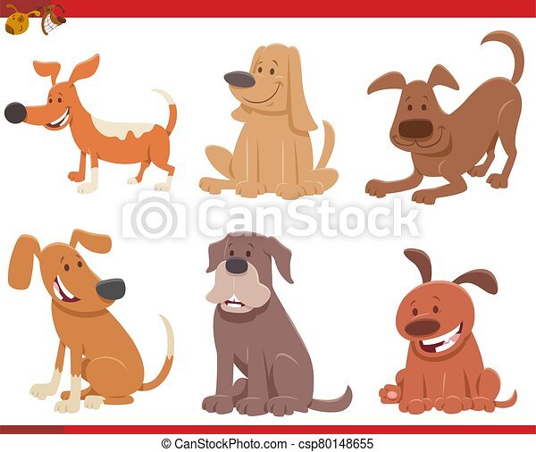 Cartoon Dogs And Puppies Comic Characters Set Cartoon Illustration Of Cute Dogs Or Puppies Pet Animal Characters Set Canstock