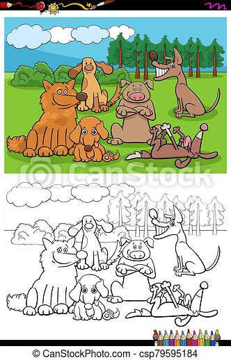 cartoon dogs and puppies group coloring book page - csp79595184