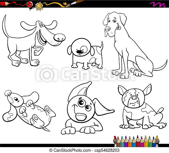 Cartoon dogs characters coloring book. Black and white cartoon ...