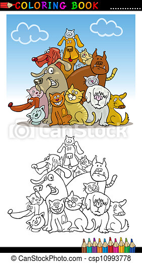 Cartoon Dogs for Coloring Book or Page - csp10993778