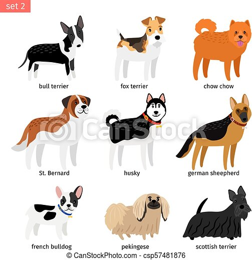 Cartoon Dogs Icons Set