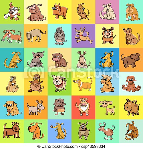 cartoon dogs pattern design - csp48593834