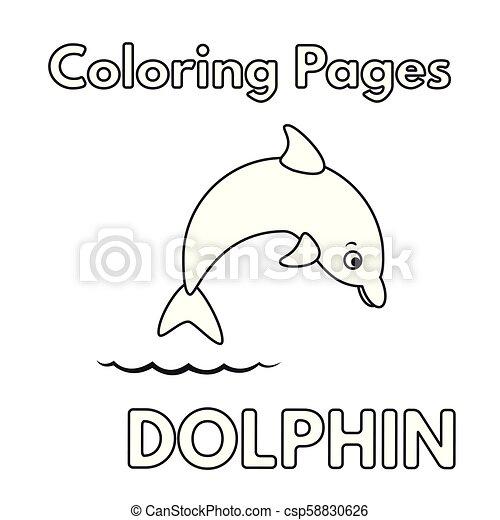 Cartoon Dolphin Coloring Book