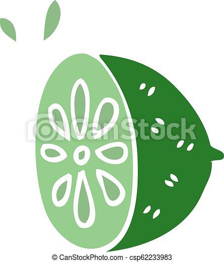 cartoon doodle lime fruit - csp62233983