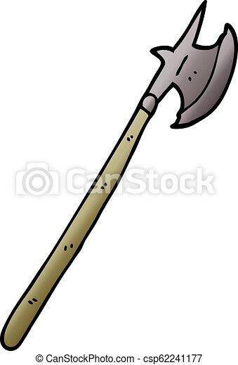 cartoon doodle medieval halberd - csp62241177