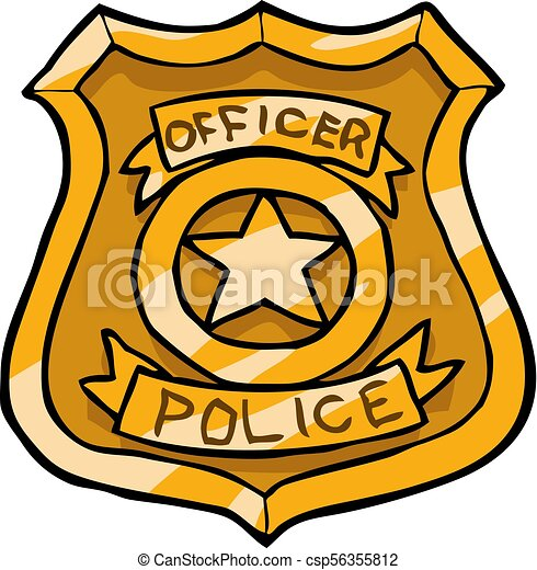 cartoon doodle police badge on a white background vector vector rh canstockphoto com police badge vector graphic badge police vectoriel
