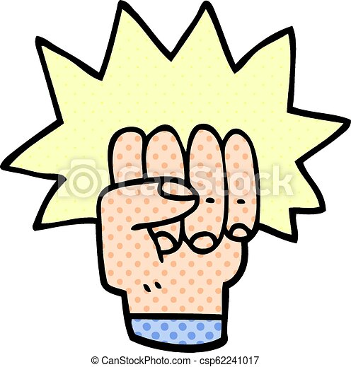Cartoon Doodle Punching Fist
