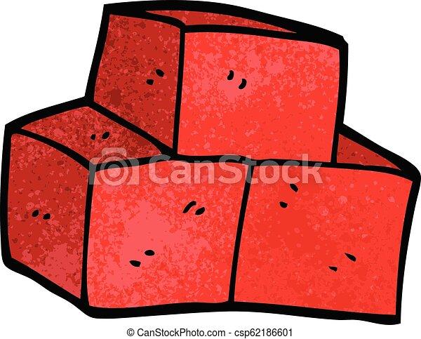 Cartoon Doodle Stacked Bricks