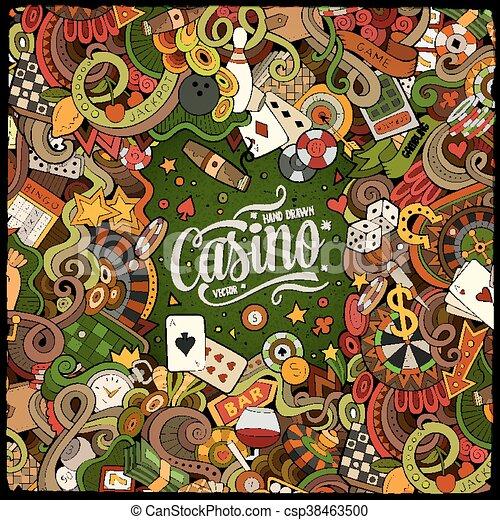 Cartoon doodles casino frame design - csp38463500