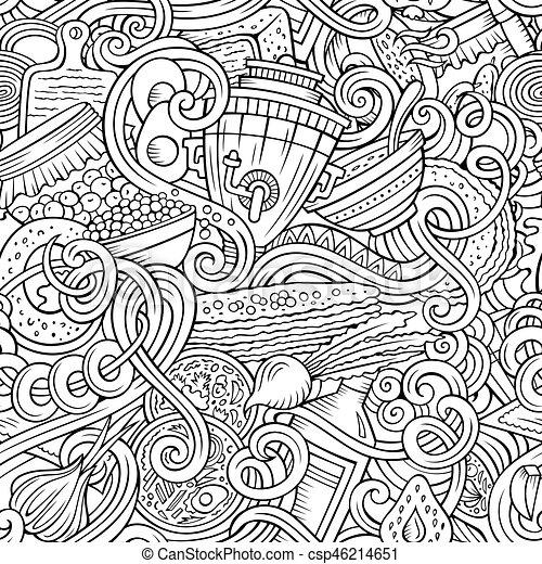 Cartoon doodles Russian food seamless pattern - csp46214651