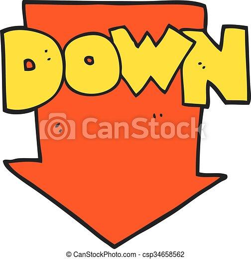 Freehand Drawn Cartoon Down Arrow Symbol