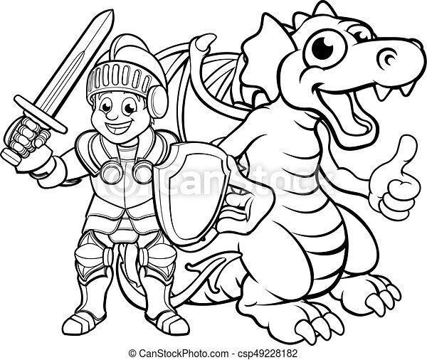 Cartoon Dragon and Knight - csp49228182