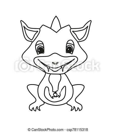 - Cartoon Dragon, Coloring Book, Doodle Illustration, CanStock