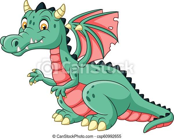 Cartoon dragon isolated on white background - csp60992655