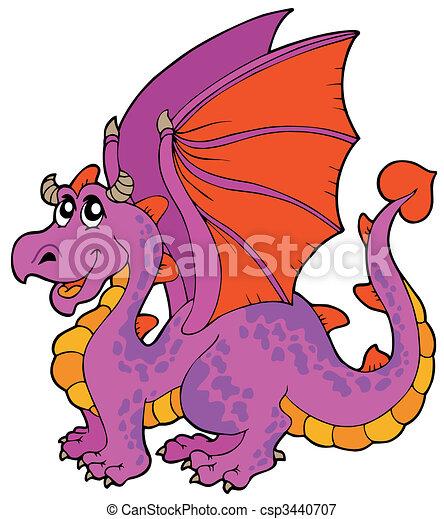 Cartoon dragon with big wings - csp3440707