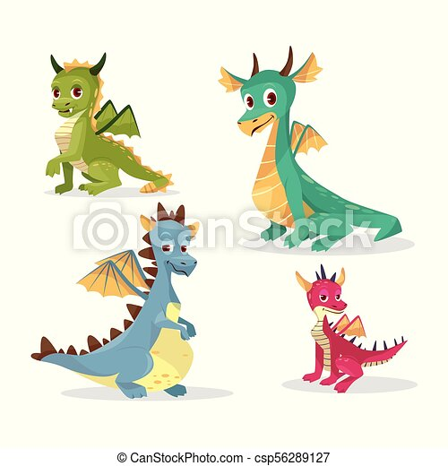 Cartoon dragons vector illustration of funny fairy magic smiling monster and happy cute creatures - csp56289127