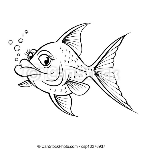 Cartoon drawing fish csp10278937