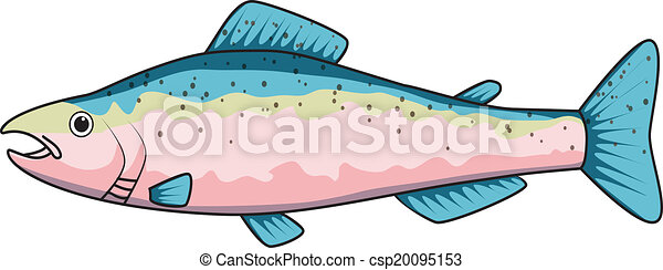 Cartoon drawing of a trout - csp20095153