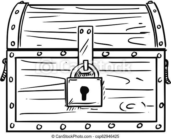Cartoon Drawing Of Locked Antique Wooden Treasure Chest Box Cartoon Drawing Illustration Of Locked Antique Wooden Treasure