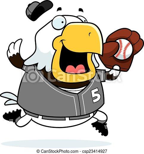 Cartoon Eagle Baseball - csp23414927