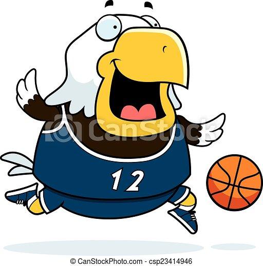 Cartoon Eagle Basketball - csp23414946