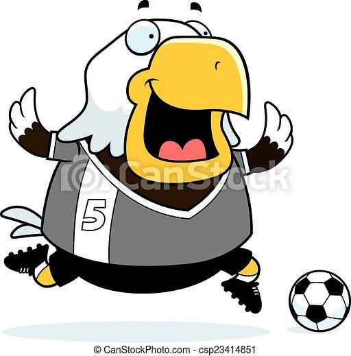 Cartoon Eagle Soccer - csp23414851