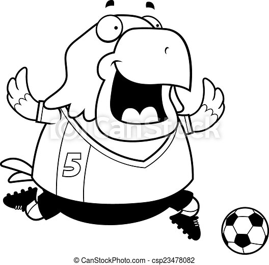 Cartoon Eagle Soccer - csp23478082