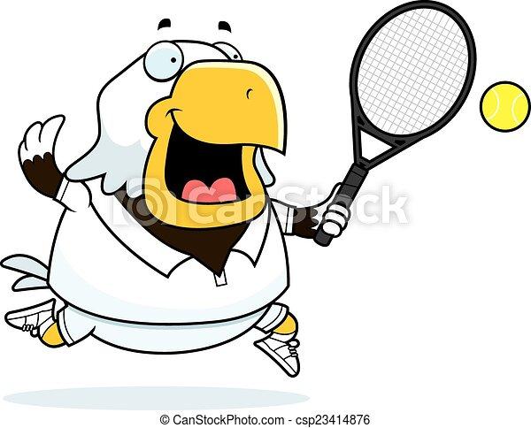 Cartoon Eagle Tennis - csp23414876