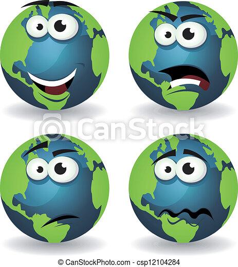 Cartoon Earth Icons Emotions - csp12104284