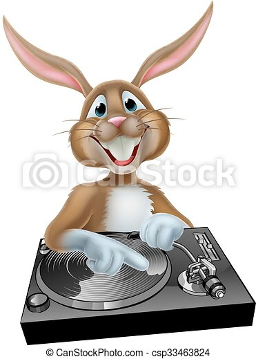 Cartoon Easter Bunny DJ - csp33463824