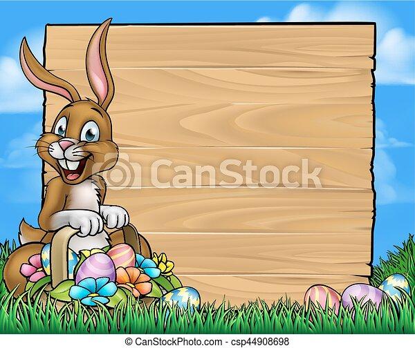 Cartoon Easter Bunny Eggs Background Sign - csp44908698