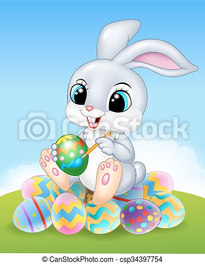 Cartoon Easter Bunny painting  - csp34397754