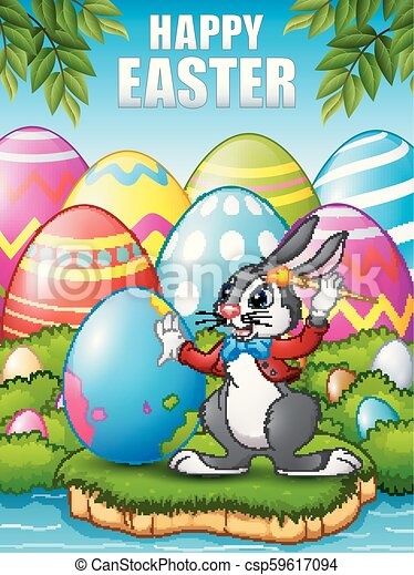Cartoon Easter bunny painting Easter eggs in the woods near the river - csp59617094