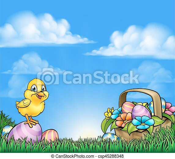 Cartoon Easter Eggs And Chick Background - csp45288348
