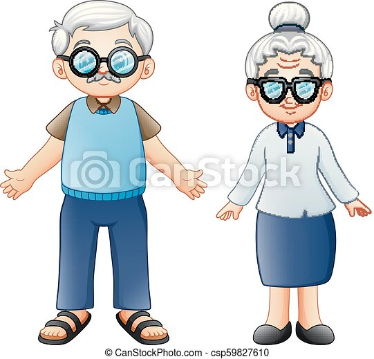Cartoon elderly couple - csp59827610