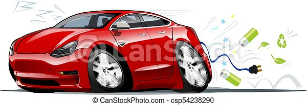 Cartoon electric car - csp54238290