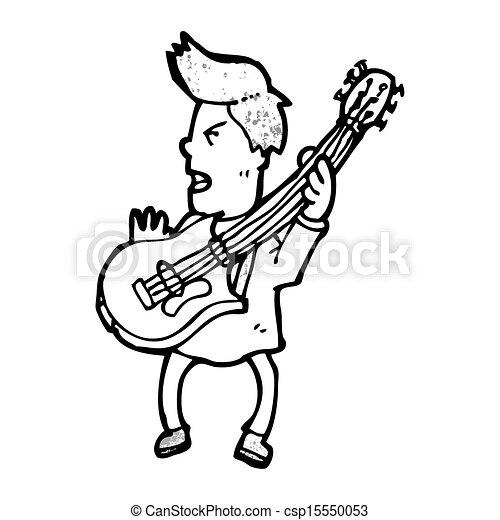 Cartoon Electric Guitar Player