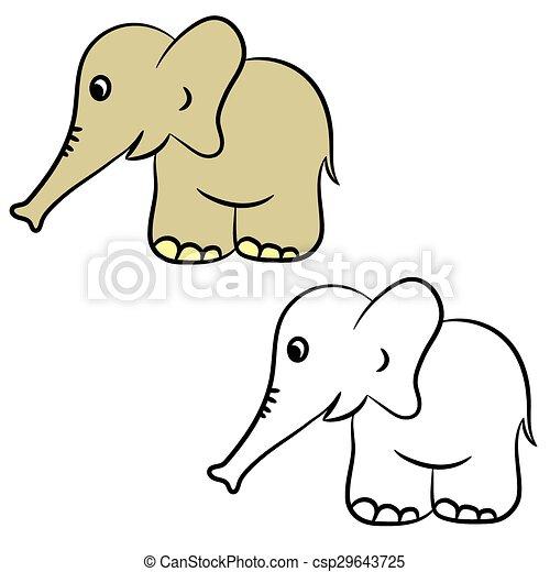 Cartoon elephant. coloring book. Cute cartoon elephant. coloring ...