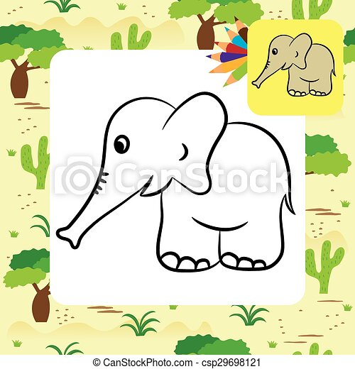Cartoon elephant. coloring page. Cute cartoon elephant. coloring ...