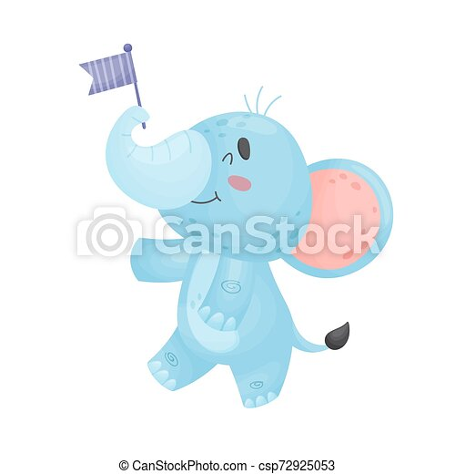 Cartoon elephant with flag. Vector illustration on a white background. - csp72925053