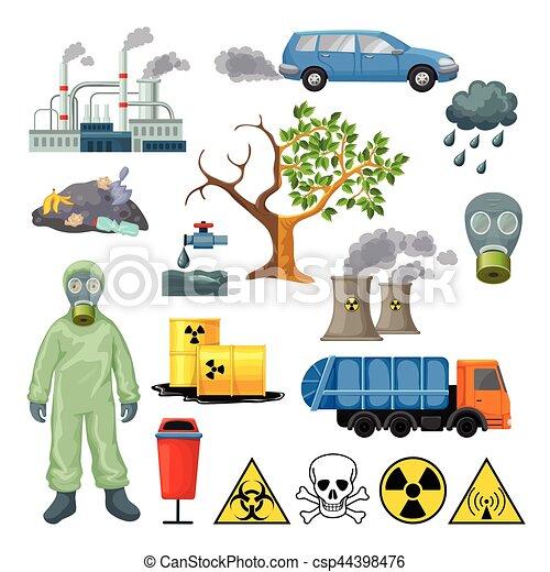 Cartoon environmental pollution icons set with radioactive cartoon environmental pollution icons set csp44398476 sciox Gallery